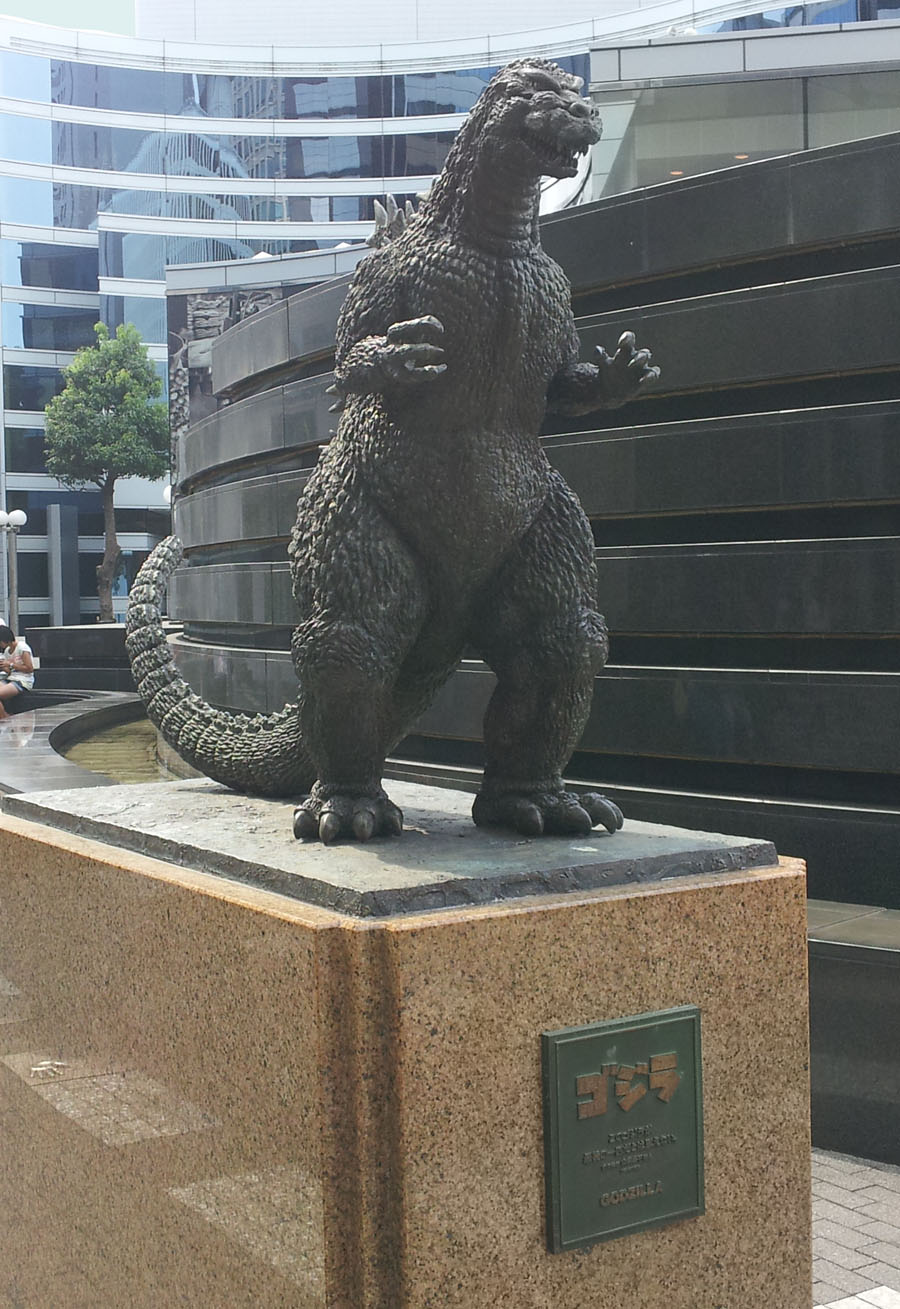 Small Godzilla statue in Yurakucho - Sept. 22, 2013