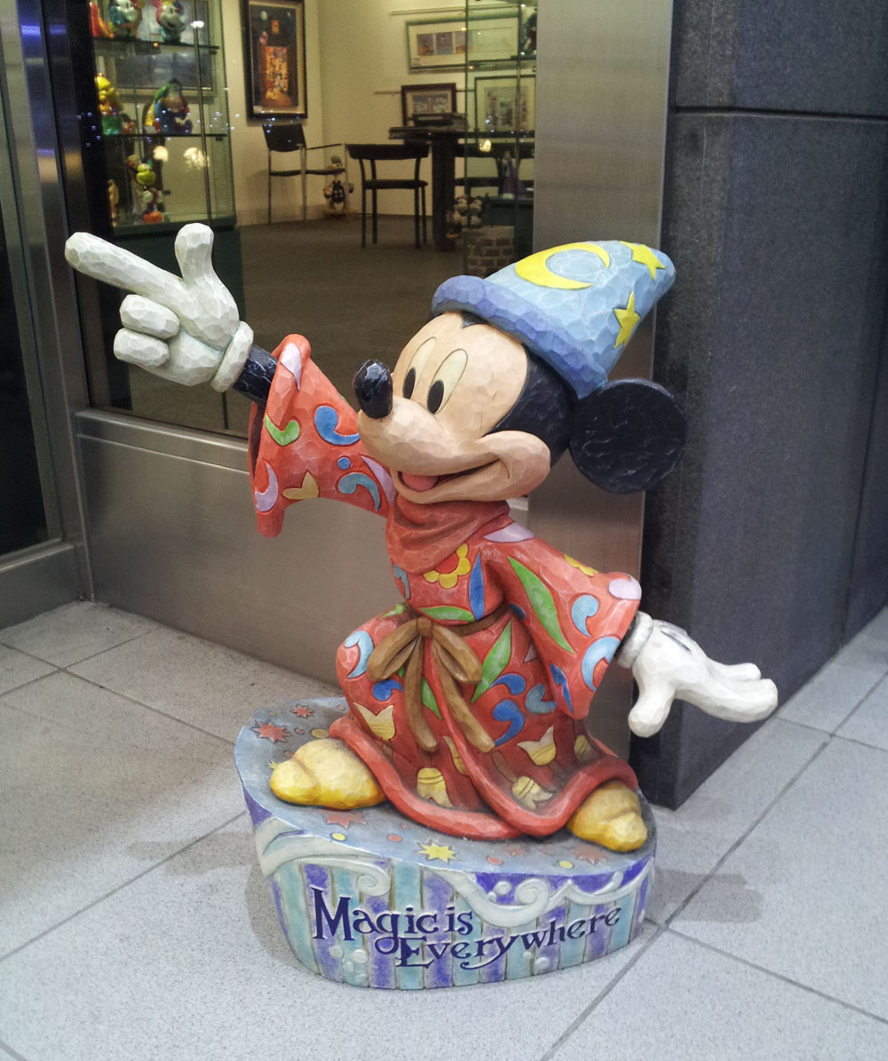 Small statue of Mickey Mouse outside a Disney figurine shop at Nagatacho station - Jan. 14, 2014