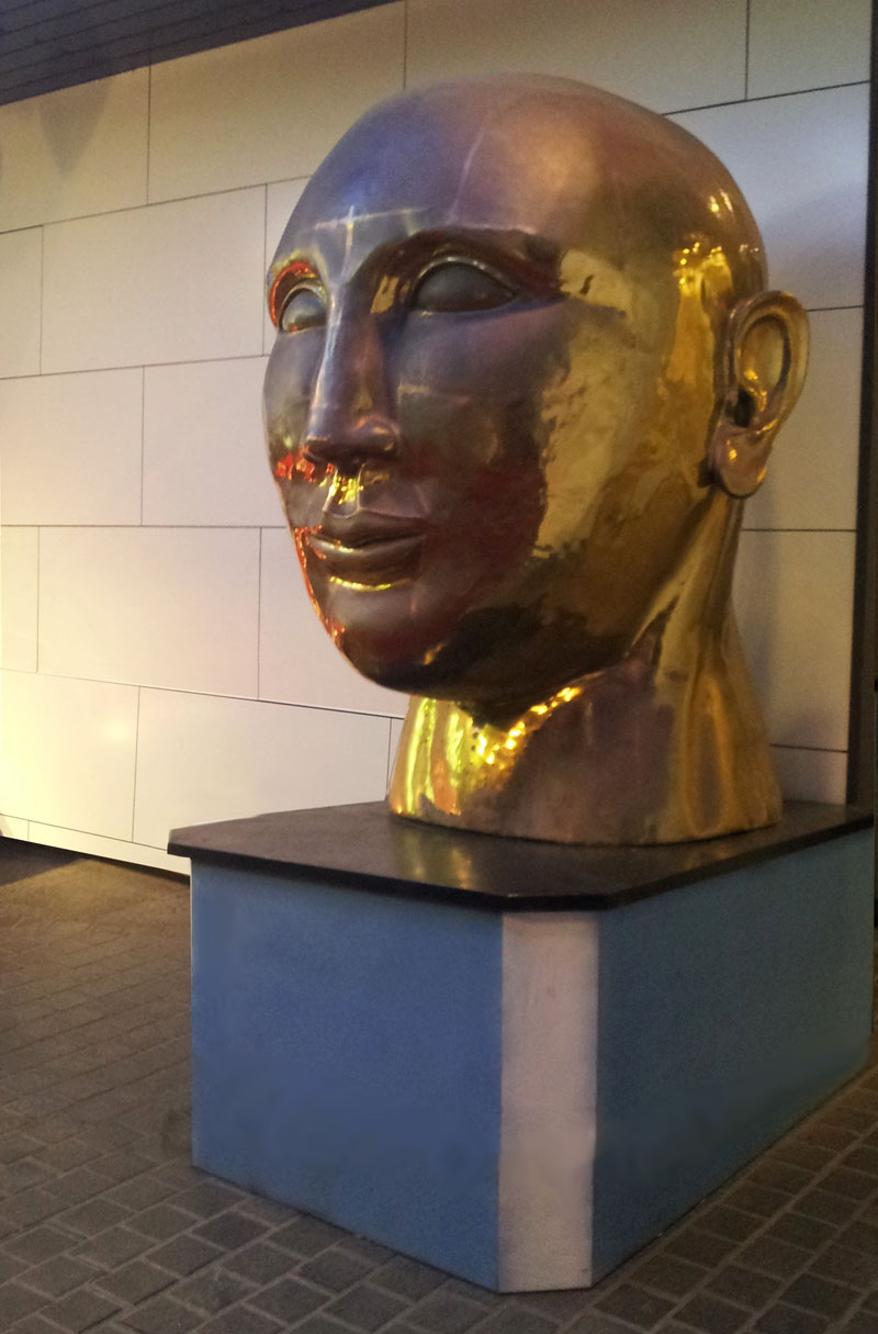 Bronze bust at the Android Cafe in Akasaka - July 29, 2014